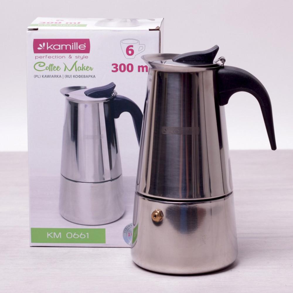 Кофеварка гейзерная 300мл (6 чашек) из нержавеющей стали