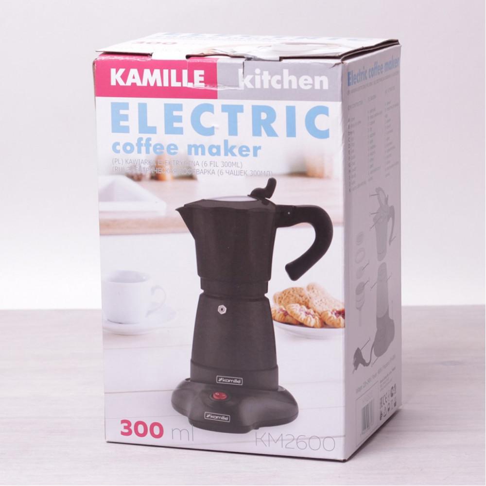 Кофеварка гейзерная электрическая 300мл (6 чашек) из алюминия