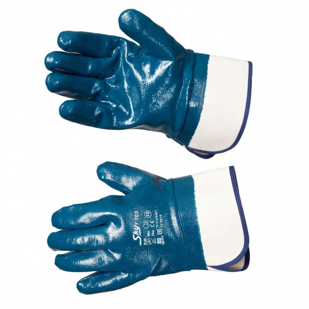 Перчатки маслобензостойкие с нитрильным покрытием, крага (синие)
