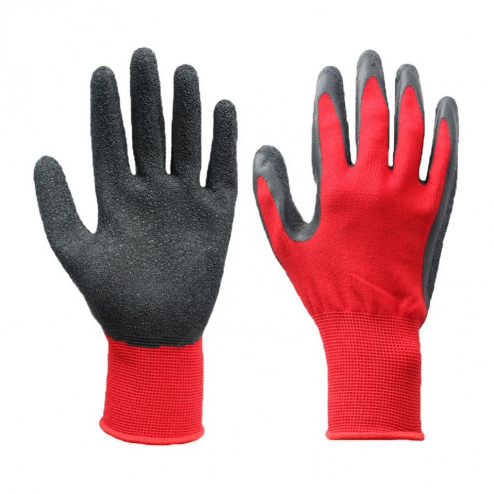 Перчатки рабочие нейлоновые полосатые c нитриловым покрытием