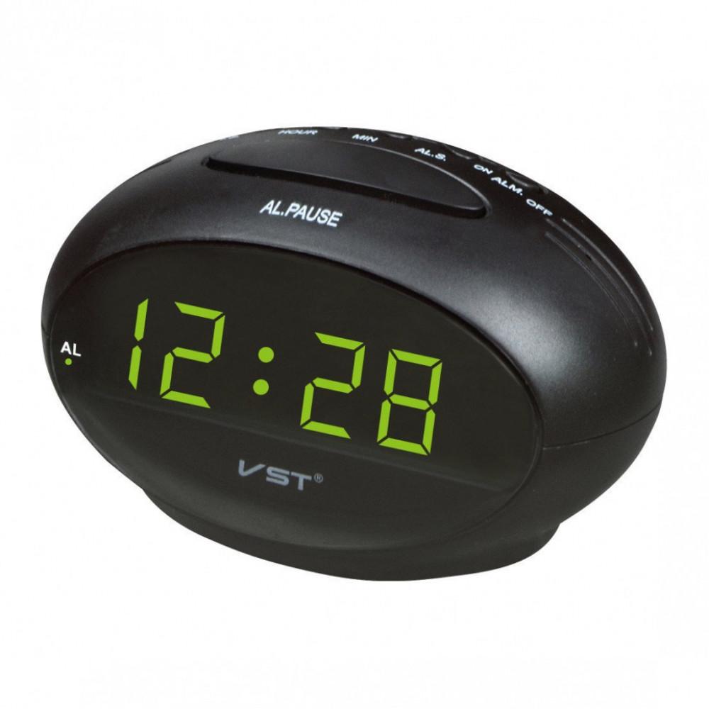 """Настольные часы с будильником от сети с зеленой подсветкой """"VST-711-2"""""""