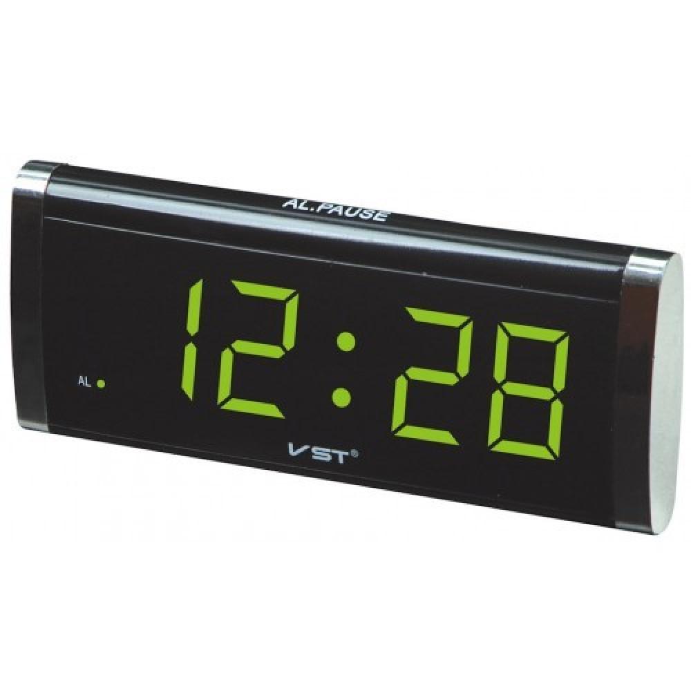 """Настольные часы с будильником от сети с зеленой подсветкой """"VST-730-2"""""""
