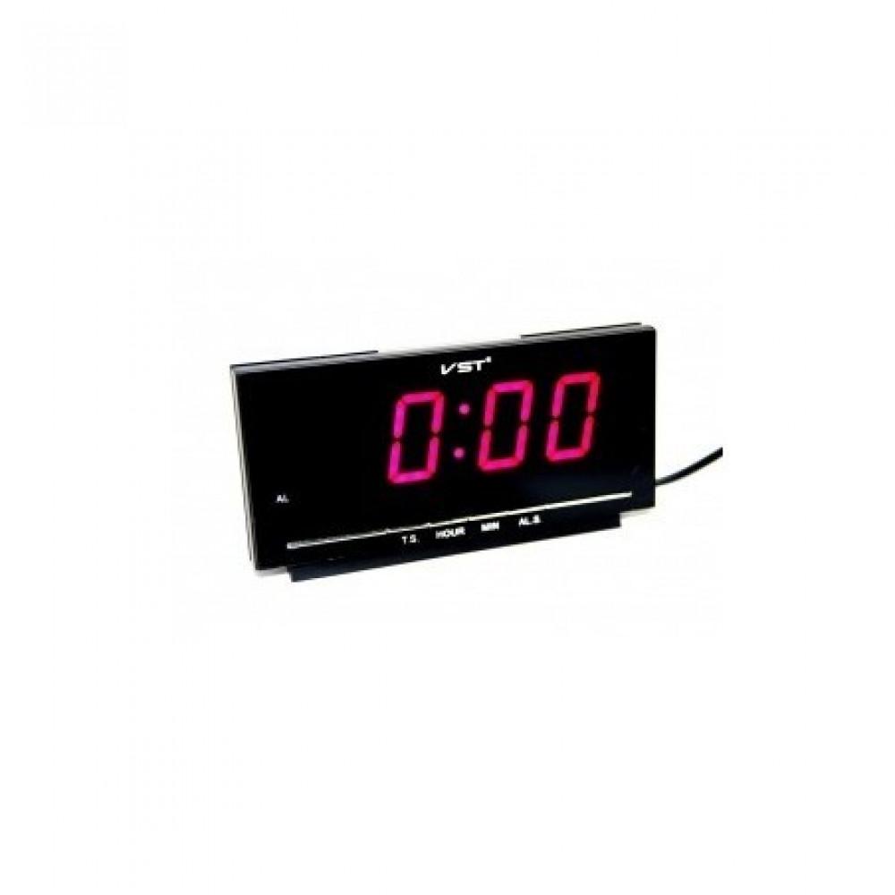 """Настольные часы с будильником от сети с красной подсветкой """"VST-778-1"""""""
